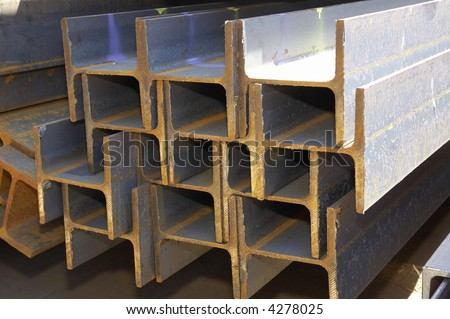 profiles made of steel - stock photo