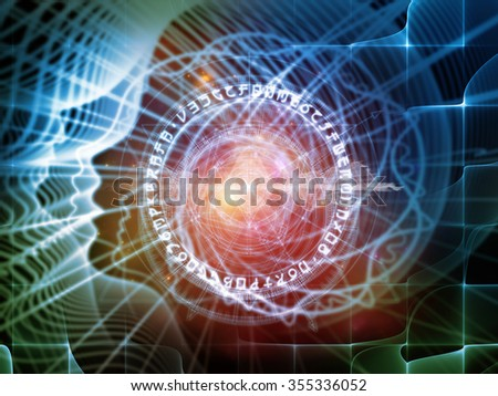 Profiles of Destiny series. Artistic abstraction composed of astrology symbols, human profile lines, circles and design elements on the subject of astrology,magic, witchcraft and fortune telling - stock photo