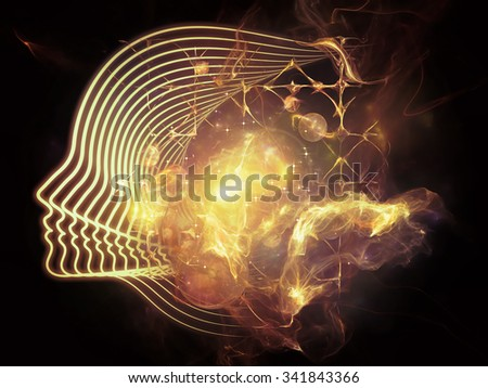Profiles of Destiny series. Background design of astrology symbols, human profile lines, circles and design elements on the subject of astrology,magic, witchcraft and fortune telling - stock photo