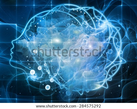 Profiles of Destiny series. Visually pleasing composition of astrology symbols, human profile lines, circles and design elements on astrology,magic, witchcraft and fortune telling - stock photo
