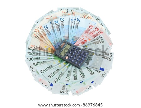 Profit concept. Calculator lying on lot of european union currency