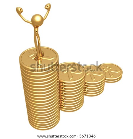 Profit Growth Gold Yen Coins Business Graph - stock photo