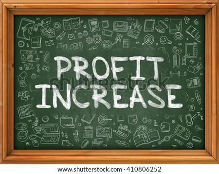 Profit Increase - Hand Drawn on Green Chalkboard with Doodle Icons Around. Modern Illustration with Doodle Design Style. - stock photo