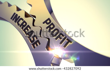 Profit Increase - Illustration with Lens Flare. Profit Increase on the Mechanism of Golden Metallic Cog Gears. Profit Increase Golden Gears. Profit Increase - Industrial Design. 3D Render. - stock photo