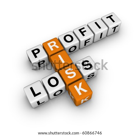 profit, loss and risk (cubes crossword series) - stock photo