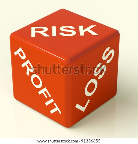 Profit Loss And Risks Red Dice Showing Market Uncertainty - stock photo