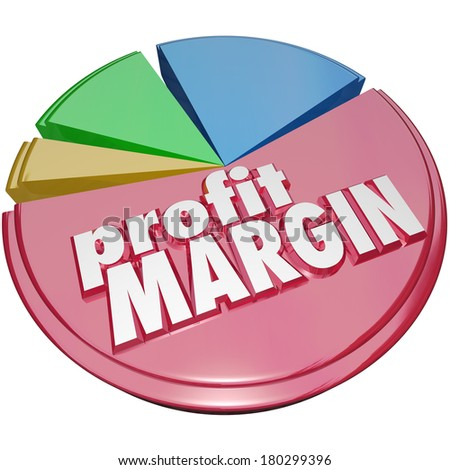 Profit Margin Words Pie Chart Net Earnings Money Income - stock photo