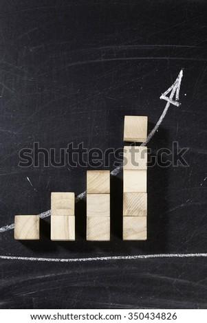 Profit of Growth blocks arranged as progressive graph - stock photo