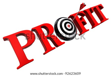 profit red word and conceptual target with arrow on white background