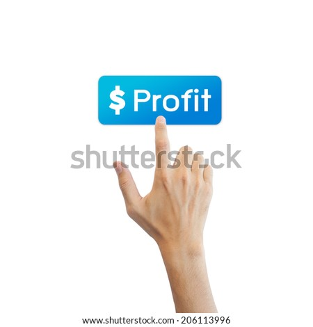 Profit Stock button with real hand isolated on white background - stock photo