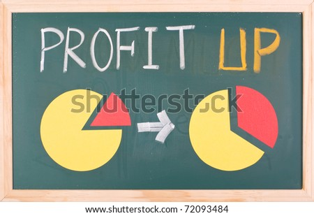Profit up words and pie chart on blackboard - stock photo