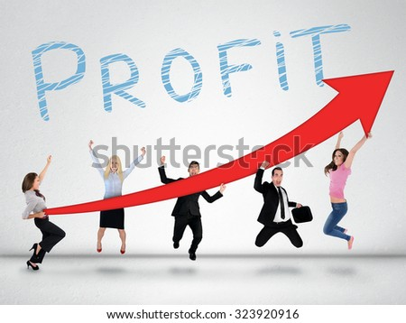Profit word and red arrow report growth statistics - stock photo