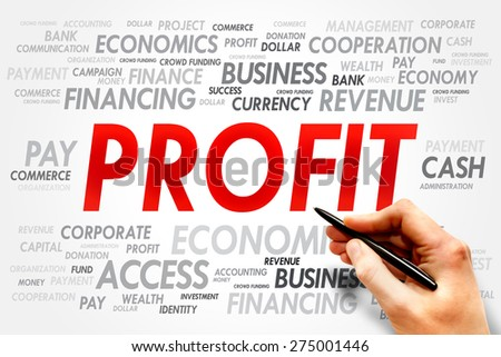 PROFIT word cloud, business concept - stock photo