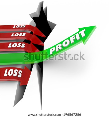 Profit word on a green arrow rising up red arrows with word Loss falling - stock photo