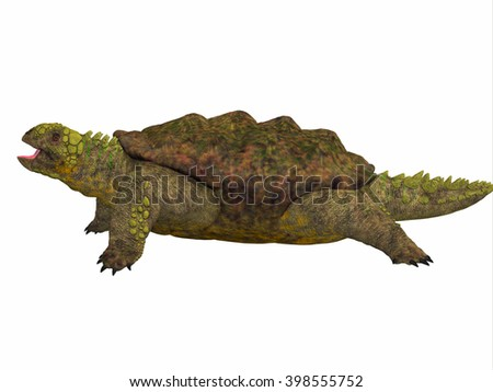 Proganochelys Side Profile 3D illustration - Proganochelys is the second oldest turtle species discovered and lived in Germany and Thailand in the Triassic Period. - stock photo