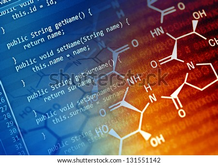 Program code and chemical formula. Science concept. - stock photo
