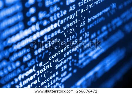 Program code - selective focus - stock photo