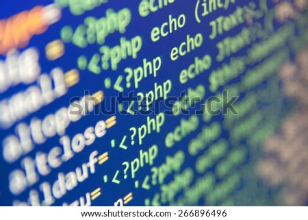 Program code - selective focus - stock photo