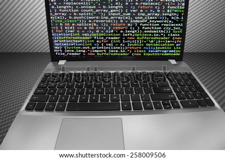 Program script developer source code display on computer laptop monitor screen. Digital technology background. Programming code abstract screen of software  MORE SIMILAR IN MY GALLERY - stock photo