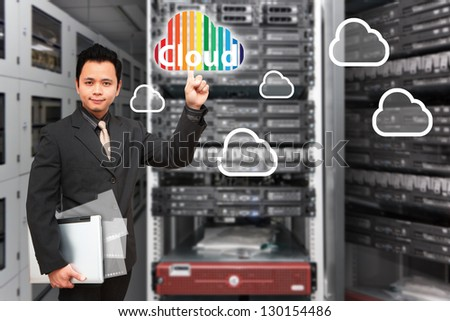 Programmer and cloud computing icon - stock photo
