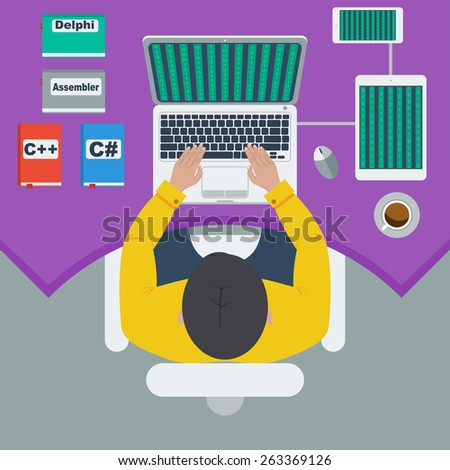programmer and process coding Workplace and programming. Workflow and planning. Flat design style - stock photo