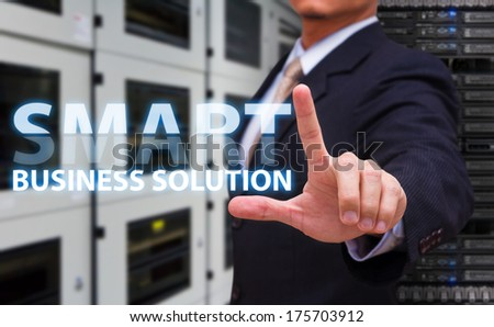 Programmer and smart business solution - stock photo