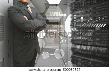 Programmer in data center room