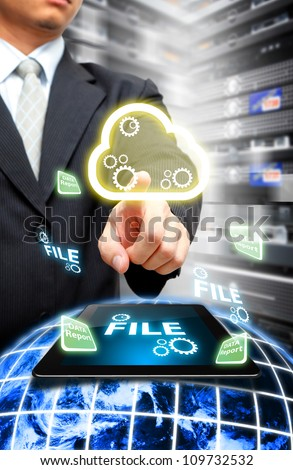 Programmer in data center room and Cloud computing concept : Elements of this image furnished by NASA - stock photo
