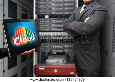 Programmer in data center room and Cloud computing service - stock photo