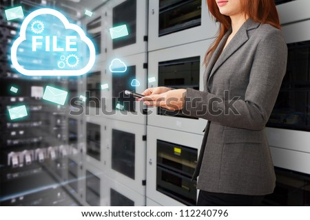 Programmer in data center room and file system service - stock photo