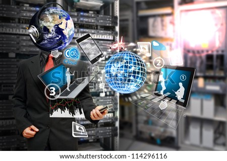 Programmer in data center room and take control the digital devices for report : Elements of this image furnished by NASA - stock photo