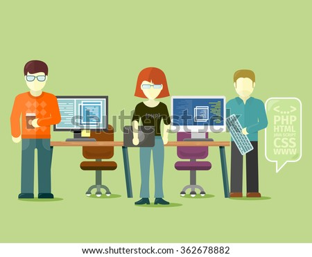 Programmers team people group flat style. Programming and computer programmer, development and code, computer and programming code, internet web, coding technology illustration. Raster version - stock photo