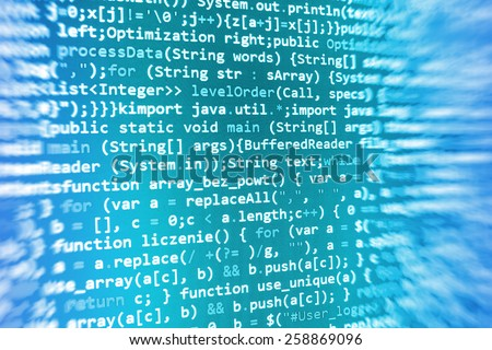 Programming code abstract screen of software developer. Computer script. Abstract data bits stream background. Digital cyber pattern. - stock photo