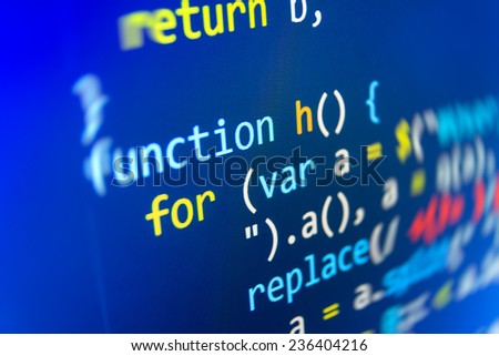 Programming code abstract screen of software developer. Computer script.  Blue background color.  (MORE SIMILAR IN MY GALLERY)  - stock photo