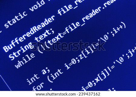 Programming code abstract screen of software developer. Computer script. Blue color.