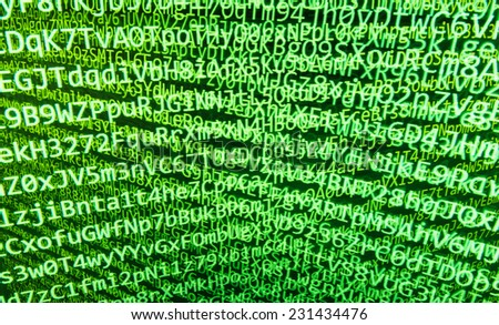 Programming code abstract screen of software developer. Computer script.  Green secure and friendly background. (MORE SIMILAR IN MY GALLERY)  - stock photo
