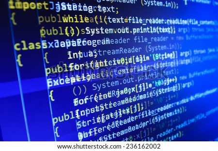 Programming code abstract screen of software developer. Computer script.  (MORE SIMILAR IN MY GALLERY)  - stock photo