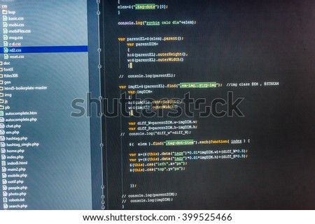 Programming code abstract screen of software developer. Software development. Programmer workplace. Website programming code. Software source code. Computer script.  Source code photo.   - stock photo