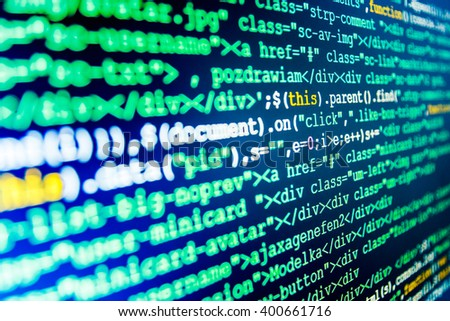 Programming code abstract screen of software developer. Software source code. Computer script.  Developer working on software codes in office. Computer program. Programmer workplace.   - stock photo
