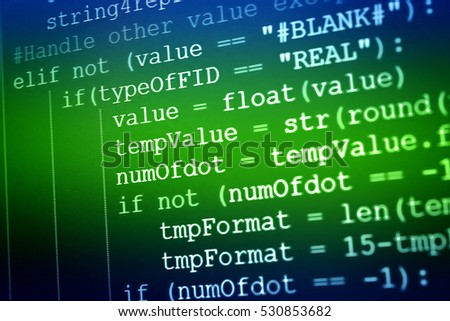 Programming code abstract technology background of software developer and Computer script. Programming Work Time. Programmer Typing New Lines of HTML Code at working Time. Web Design Business Concept.