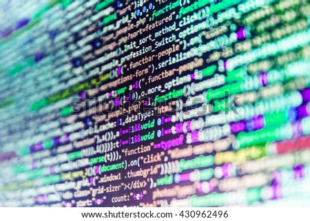 Programming code. Developer working on websites codes in office. Programmer occupation. Programmer workplace. Programming code abstract screen of software developer.   - stock photo