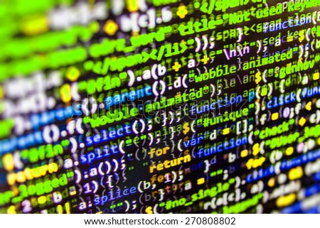 Programming coding source code screen of program developer. Abstract data bits stream background. Digital cyber pattern. Green, blue color. - stock photo