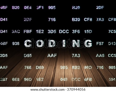 Programming concept: Coding in grunge dark room - stock photo