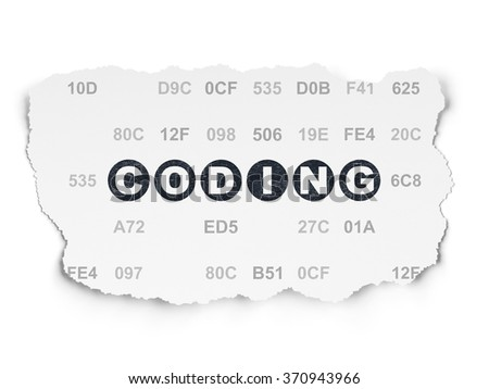 Programming concept: Coding on Torn Paper background - stock photo
