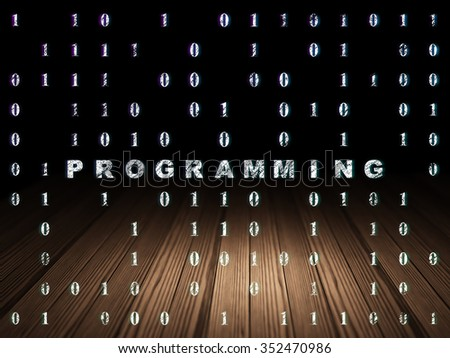 Programming concept: Glowing text Programming in grunge dark room with Wooden Floor, black background with Binary Code - stock photo
