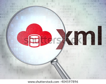 Programming concept: magnifying optical glass with Database With Cloud icon and Xml word on digital background, 3D rendering - stock photo