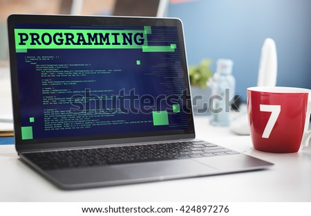Programming Scheduling Digital Application Code Concept - stock photo