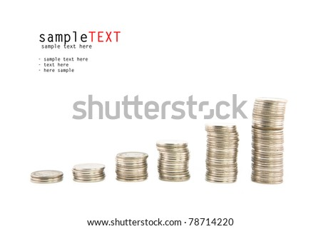 Progress and wealth of silver coins stacks, isolate on white background