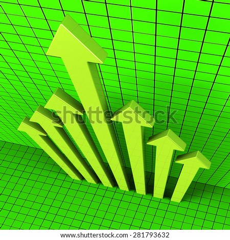 Progress Arrows Showing Advancement Document And Data - stock photo