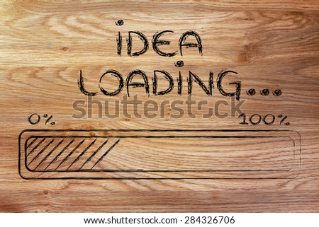 progress bar, funny design with concept of idea loading - stock photo